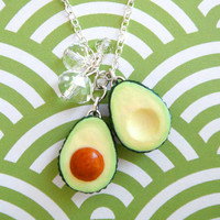 Sliced Avocado Necklace with Crystals by kawaiiculture on Etsy