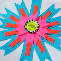 Neon fangirl bow orange, pink, blue, yellow with zebra on clip or headband