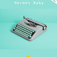 REFURBISHED TO ORDER /// 1960 Hermes Baby Typewriter. Excellent conditon. Mint green. Swiss portable. Case. English qwerty keyboard with @.