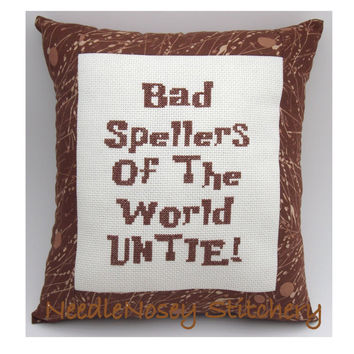Cross Stitch Pillow Funny Quote Brown Pillow by NeedleNosey
