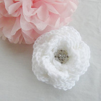 Ready To Ship Beautiful Extra Large Crochet Hair Clip Hair Bow Flower White Color
