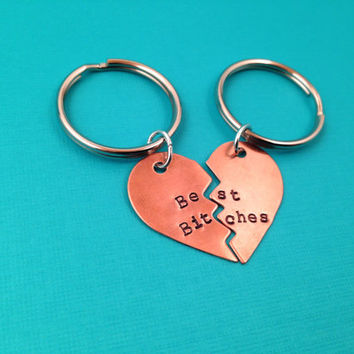 Best Bitches Hand Stamped Broken Heart Keychain Set- In Brass, Copper, or Aluminum