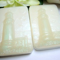 Handmade Soap Lighthouse Organic Ocean Scent 4 oz Bar Set of Two | PinksPleasures - Bath & Beauty on ArtFire