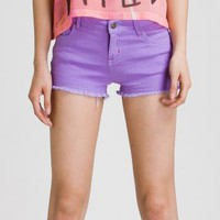 Purple Shorts - Bright Purple Five Pocket Cut-Off | UsTrendy
