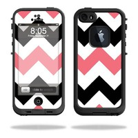 Protective Vinyl Skin Decal Cover for LifeProof iPhone 5 / 5S Case fre Case Sticker Skins Black Pink Chevron