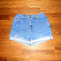 Vintage Denim Cut Offs - 80s Classic Light Stone Wash Blue Jean Shorts - High Waisted Cut Off/Rolled Up Liz Claiborne Shorts, Misses Size 14