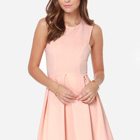 Pleat and Tidy Peach Dress