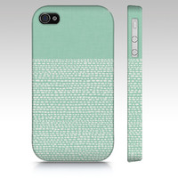 Hemlock green and White iPhone 5s case, iPhone 5c case, iphone 4s case, color block and white dots, Pantone colors of 2014, geometric case
