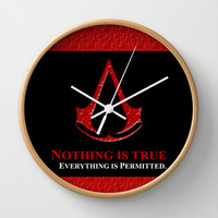 Assassin's creed nothing is true everything is permited Decorative Circle Wall Clock Watch by Three Second