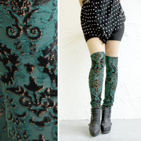 Faux Thigh High Leggings  Emerald Green 