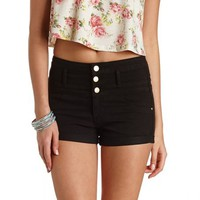 "Refuge ""Hi-Waist Shortie"" Colored Denim Shorts - Black"