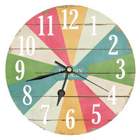 Carnival Wheel Of Fortune Clock. Decoupage handmade clock in Green Mustard Pink Blue Beige . 11 inch diameter. Multi Colour clock