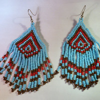 Vintage Hand Made Navajo Southwest Indian blue red beaded tribal earrings 1970s Jewelry