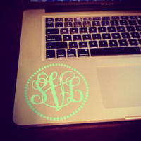 4 inch Monogram Laptop Decal Dot Frame in Vine