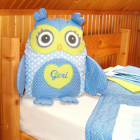 Stuffed Owl Pillow, Personalized Owl, Blue Polkadot Cotton Fabrics and Green Cotton Fabrics