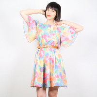 Vintage Mini Dress Skater Dress Rainbow Abstract Floral Print Dress 80s Angel Sleeve Dress Flutter Sleeve Pastel Shirtdress M Medium L Large