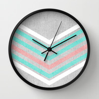 Teal, Pink and White Chevron on Silver Grey Wood Wall Clock by Tangerine-Tane