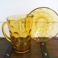 Amber Glass Polka Dot Pitcher and Bowl Set by EraGlassCo on Etsy