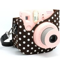 NodArtisan Colorful Dots Spot Cloth+PU fuji mini case for Fujifilm Instax Mini 8 Case + Free Shoulder Strap -Brown