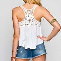 Full Tilt Crochet Racerback Womens Swing Tank White  In Sizes