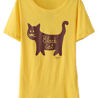 ROMWE Black Cat Print Yellow T-shirt