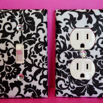 Damask Light Switch Plate & Outlet Cover Set of 2-Black & White Floral Damask Any Styles!