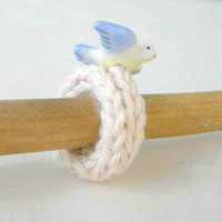 Knit Ring Ecru Cotton with Blue Bird Charm by WindyCityKnits