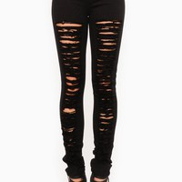 Black Solid Shredded Jeggings @ Cicihot Pants Online Store: sexy pants,sexy club wear,women's leather pants, hot pants,tight pants,sweat pants,white pants,black pants,baggy pants