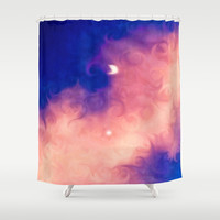 Moon in a Pink Cloud Shower Curtain by DuckyB (Brandi)