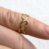 Gold Heart Ring / Little Finger Ring