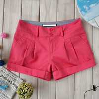 2012 The new shorts, women summer Korean version of curling cotton casual relaxed lengthened shorts candy colored multip e1j