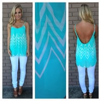Mint & White Zig Zag Low Back Tank