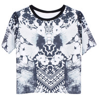 ROMWE Pigeons Print Short-sleeved T-shirt