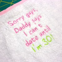 Baby Girl Bib Funny Daddy says Embroidered Pink White Lime Green | PinkCloudsAndBabyBlue - Children