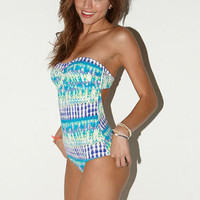 Tie-Dye Twist Bandeau One Piece