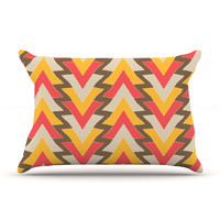 "Julia Grifol ""My Triangles in Red"" Orange Brown Pillow Case"