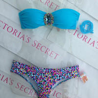 New Sexy Victoria's Secret Embellished Bandeau Bikini Set XS Confetti