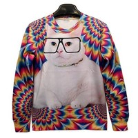 Galaxy Sweatshirts Funny Fat Cat 3D Sweaters Hoodies for Women Sweater Size L