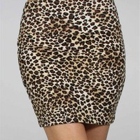 Black/Brown Leopard Banded Skirt
