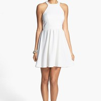 Bailey Blue Bow Back Textured Skater Dress (Juniors) | Nordstrom