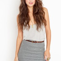 Cable Knit Skirt - Gray in  Sale at Nasty Gal