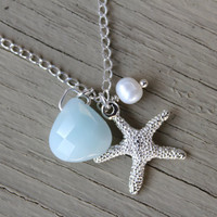 Starfish Necklace Silver Plated Starfish Charm Necklace with Accenting White Freshwater Pearl and Pale Teal Blue Amazonite Briolette Bead by ArtisanTree