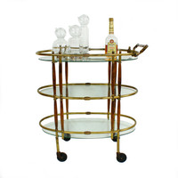 Mid Century Modern Brass & Walnut Bar Cart