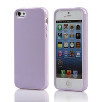 FGA New Gel Cover Silicon Bumper Jelly TPU Rubber Skin Case for Apple iPhone 5 5S (Lavender)