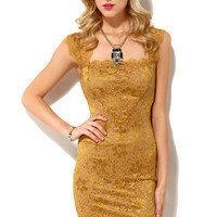 Square Neck Lace Dress in Gold