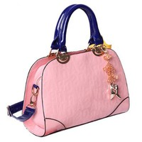 Embossed Letters Tote Purse Bag Handbag with Shoulder Strap Pendant