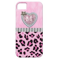 Monogram, Pink, Heart, Cheetah Skin iPhone 5 Cases