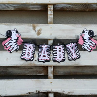 Zebra Print Baby Banner, Baby Shower Decor, Zebra Print Baby Photo Prop,