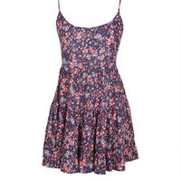 Babydoll Dress in Navy Floral