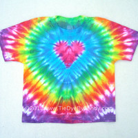 Child Medium Tie Dye Shirt Rainbow Pink Heart